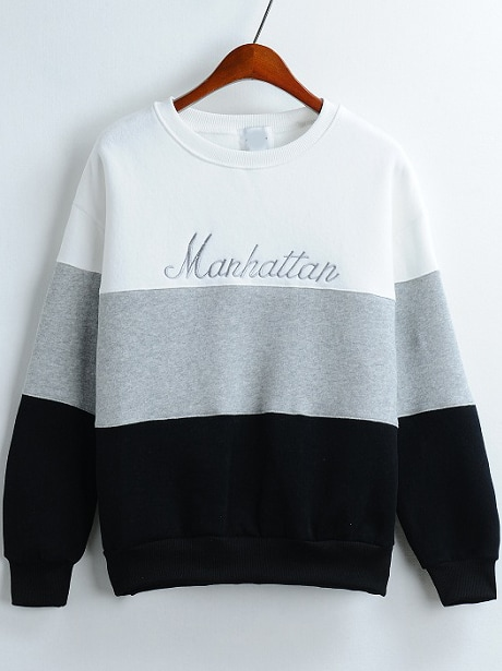 Colour-block Round Neck Letters Embroidered Sweatshirt