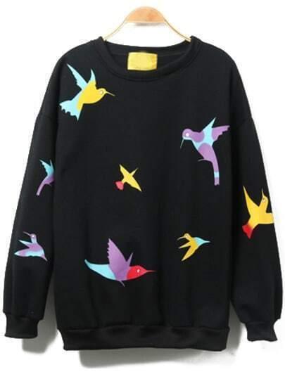 Multicolor Round Neck Birds Print Sweatshirt