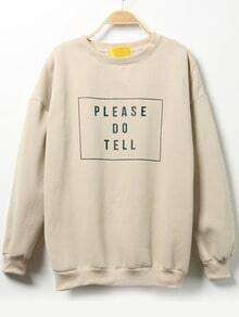 Apricot Round Neck Letters Print Sweatshirt
