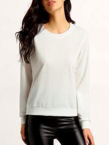 White Round Neck Long Sleeve Loose Sweatshirt