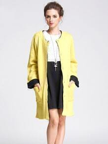 Yellow Single Breasted Pockets Sweater Coat