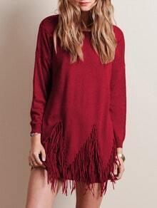 Burgundy Round Neck Tassel Knitwear