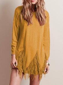 Yellow Round Neck Tassel Knitwear