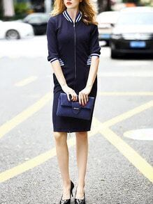 Navy Stand Collar Striped Zipper Dress