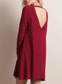 Red Long Sleeve Backless Hollow Loose Dress