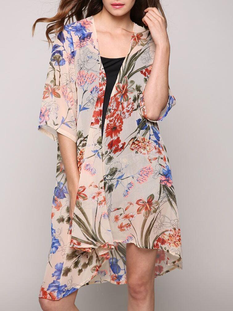 Multicolor Half Sleeve Floral Chiffon Kimono