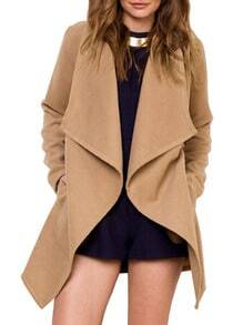 Camel Lapel Long Sleeve Woolen Coat