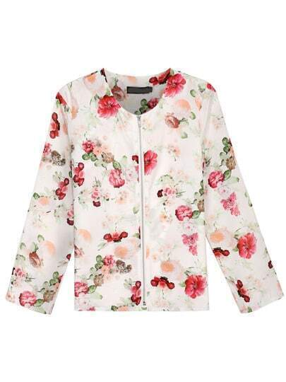 Multicolor Long Sleeve Floral Zipper Jacket