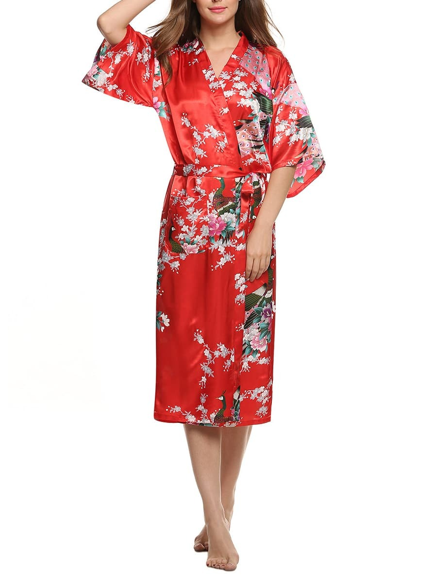 Red Tie-Waist Peacock Print Sleepwear