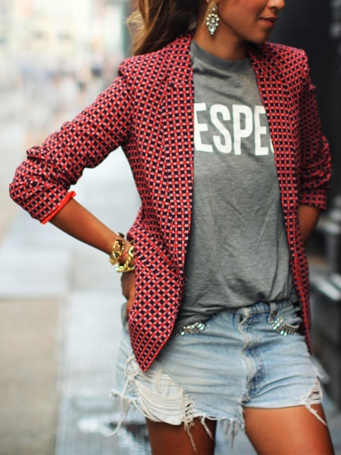 Red Notch Lapel Plaid Fitted Blazer