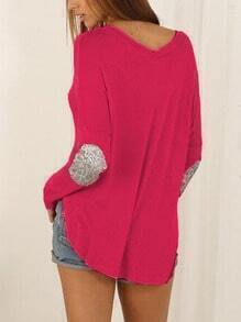 Red Elbow Patch Sequined Loose T-Shirt