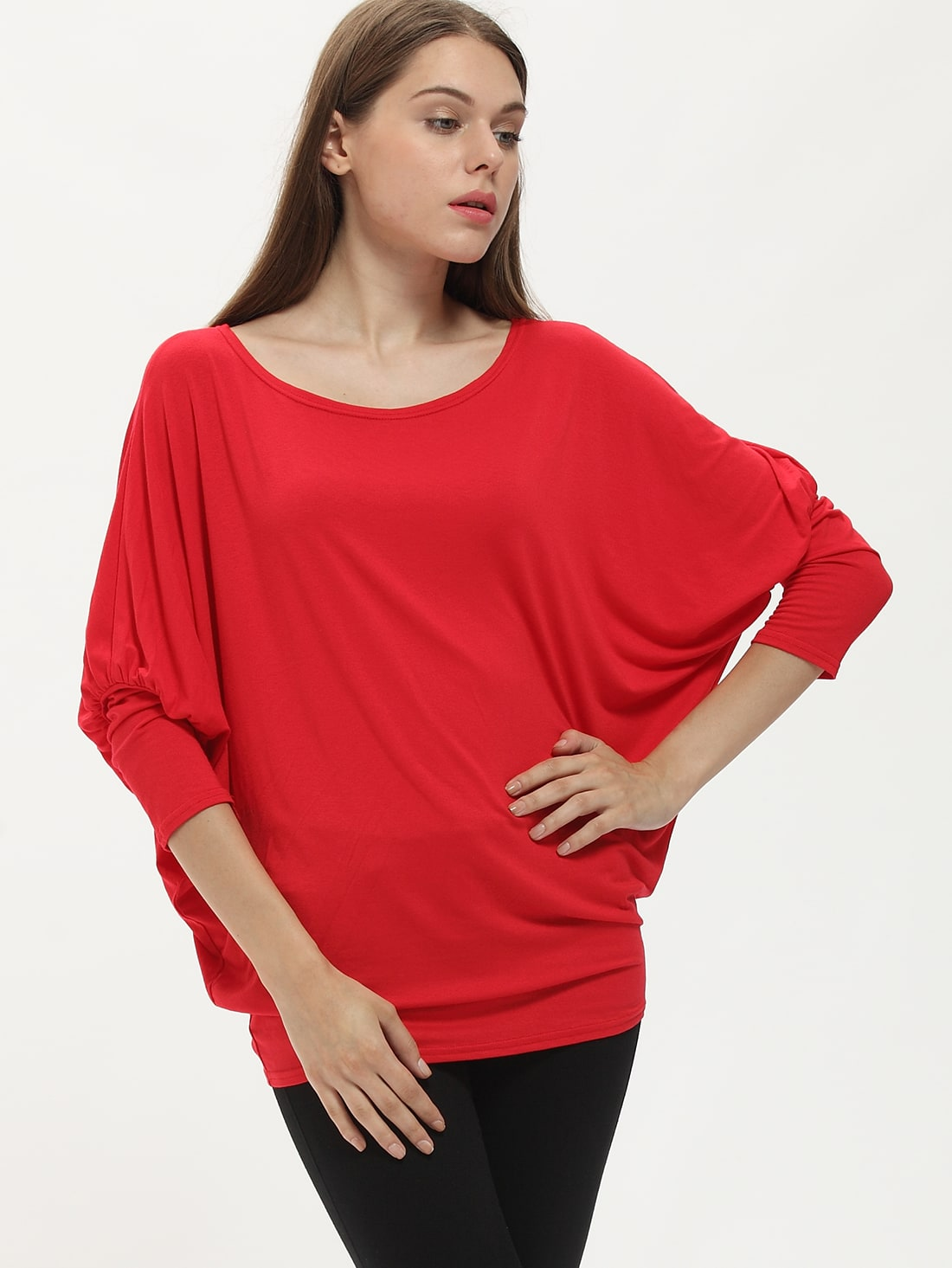 Red Long Sleeve Loose T-Shirt