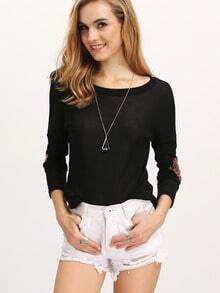 Black Elbow Patch Sequined Loose T-Shirt