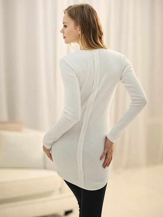 White Round Neck Long Sleeve Slim T-Shirt