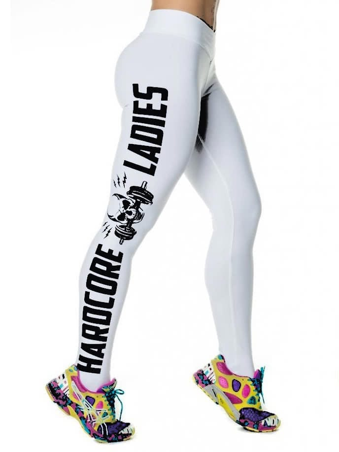White Letters Print Sport Leggings