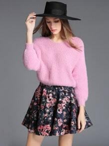 Pink V Neck Crop Sweater With Floral Skirt