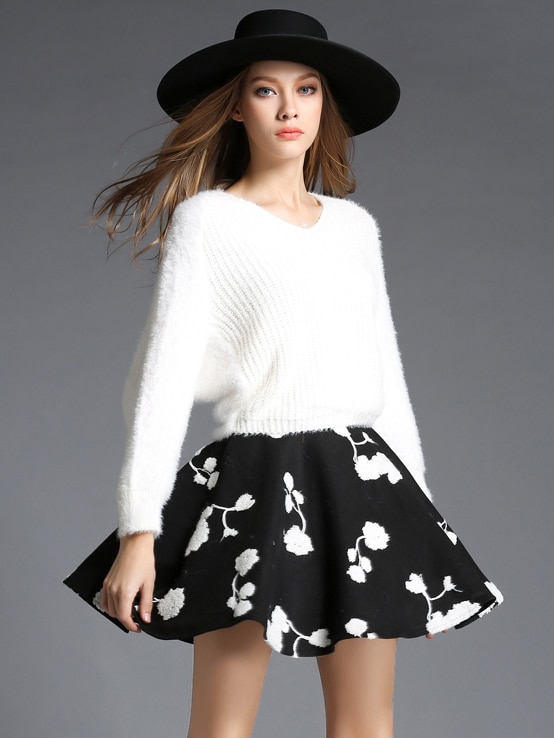 White V Neck Batwing Sweater With Black Skirt