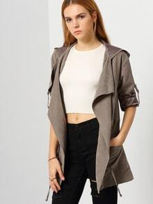 Grey Hooded Pockets Coat