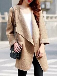 Khaki Long Sleeve Pockets Coat