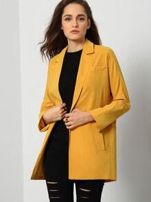 Yellow Long Sleeve Pockets Coat
