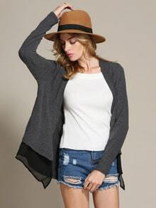 Grey Long Sleeve Color Block Coat