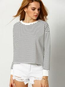 Black White Round Neck Striped T-Shirt