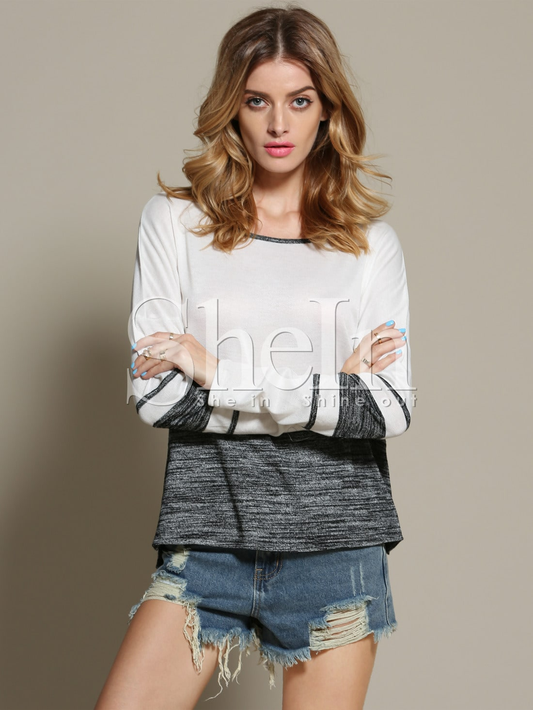 White Grey Round Neck Color Block T-Shirt