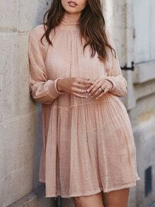 Pink Long Sleeve High Neck Dress