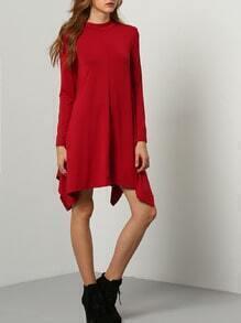 Red Long Sleeve Asymmetric Dress