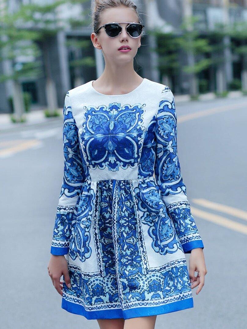 White and Blue Porcelain Round Neck Long Sleeve Jacquard Dress