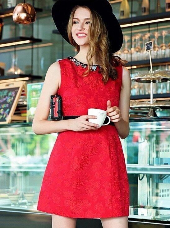 Red Round Neck Sleeveless Beading Jacquard Pockets Dress