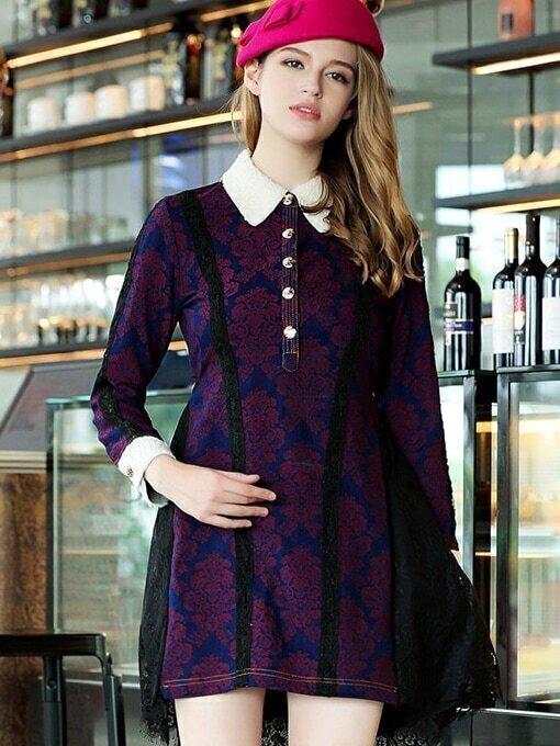 Purple Lapel Long Sleeve Contrast Lace Dress