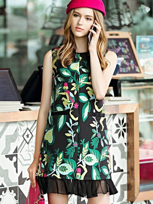 Green Round Neck Sleeveless Contrast Gauze Print Pockets Dress