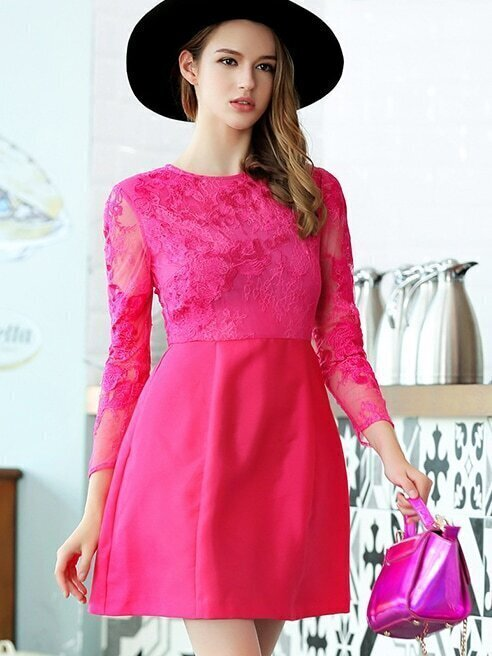 Rose Red Round Neck Long Sleeve Contrast Lace Pockets Dress