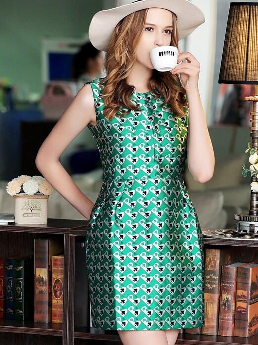 Green Round Neck Sleeveless Pockets Jacquard Dress