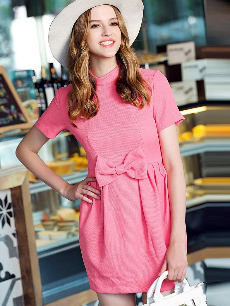Pink Stand Collar Short Sleeve Bow Dress
