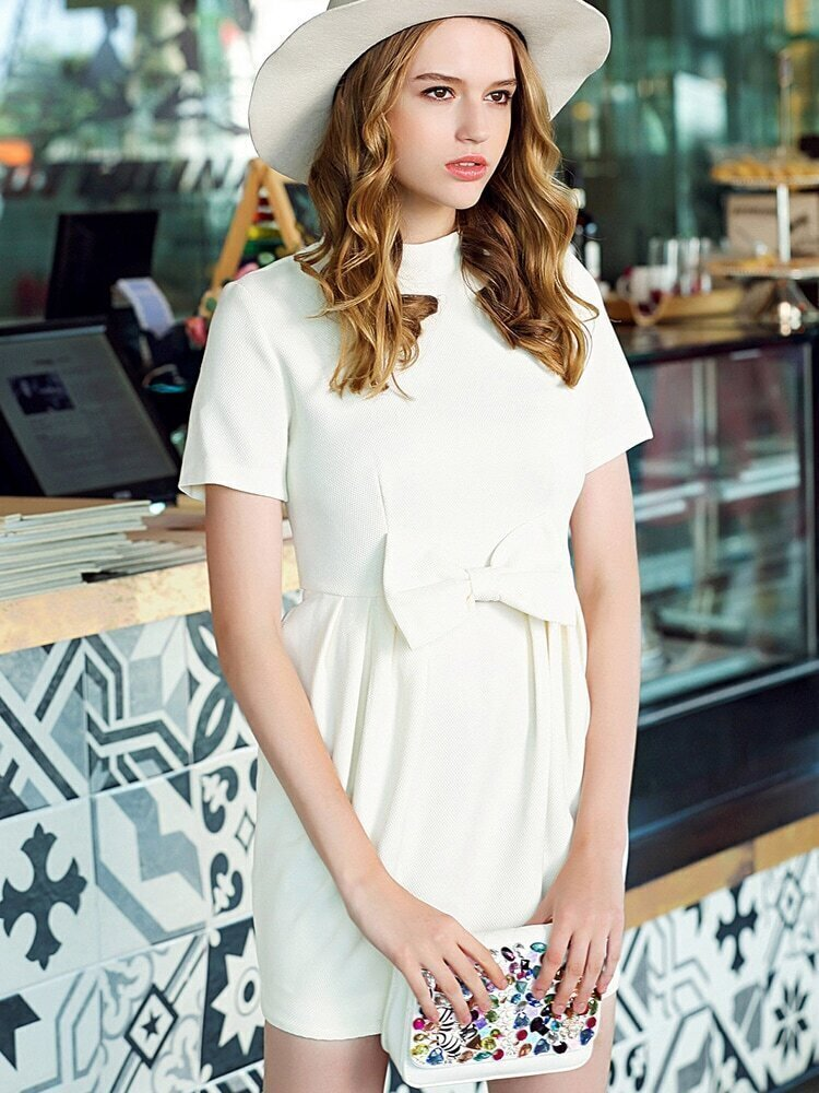 White Stand Collar Short Sleeve Bow Dress