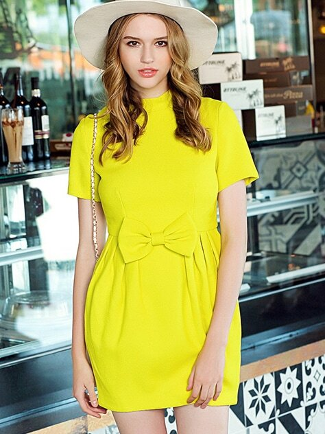 Yellow Stand Collar Short Sleeve Bow Dress