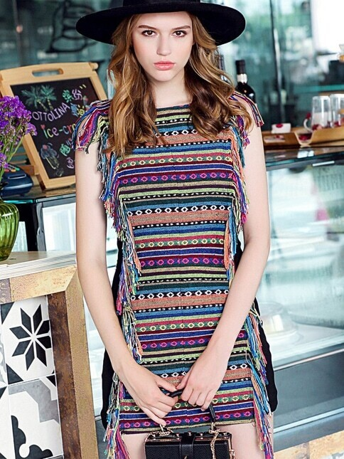Multicolor Round Neck Sleeveless Tassel Dress