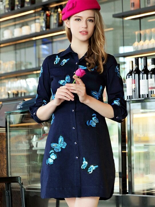 Navy Lapel Length Sleeve Patch Embroidered Dress