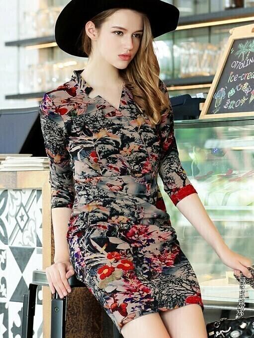 Multicolor V Neck Length Sleeve Print Dress