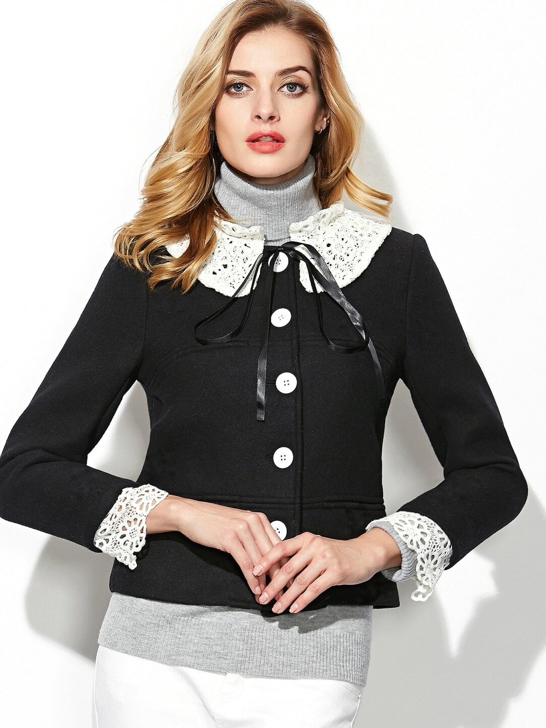 Black Round Neck Long Sleeve Bow-Tie Coat
