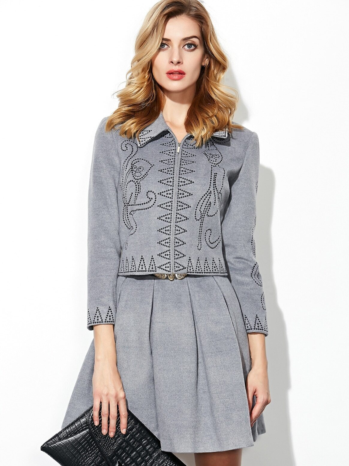 Grey Lapel Length Sleeve Embroidered Drawstring Two Pieces Dress