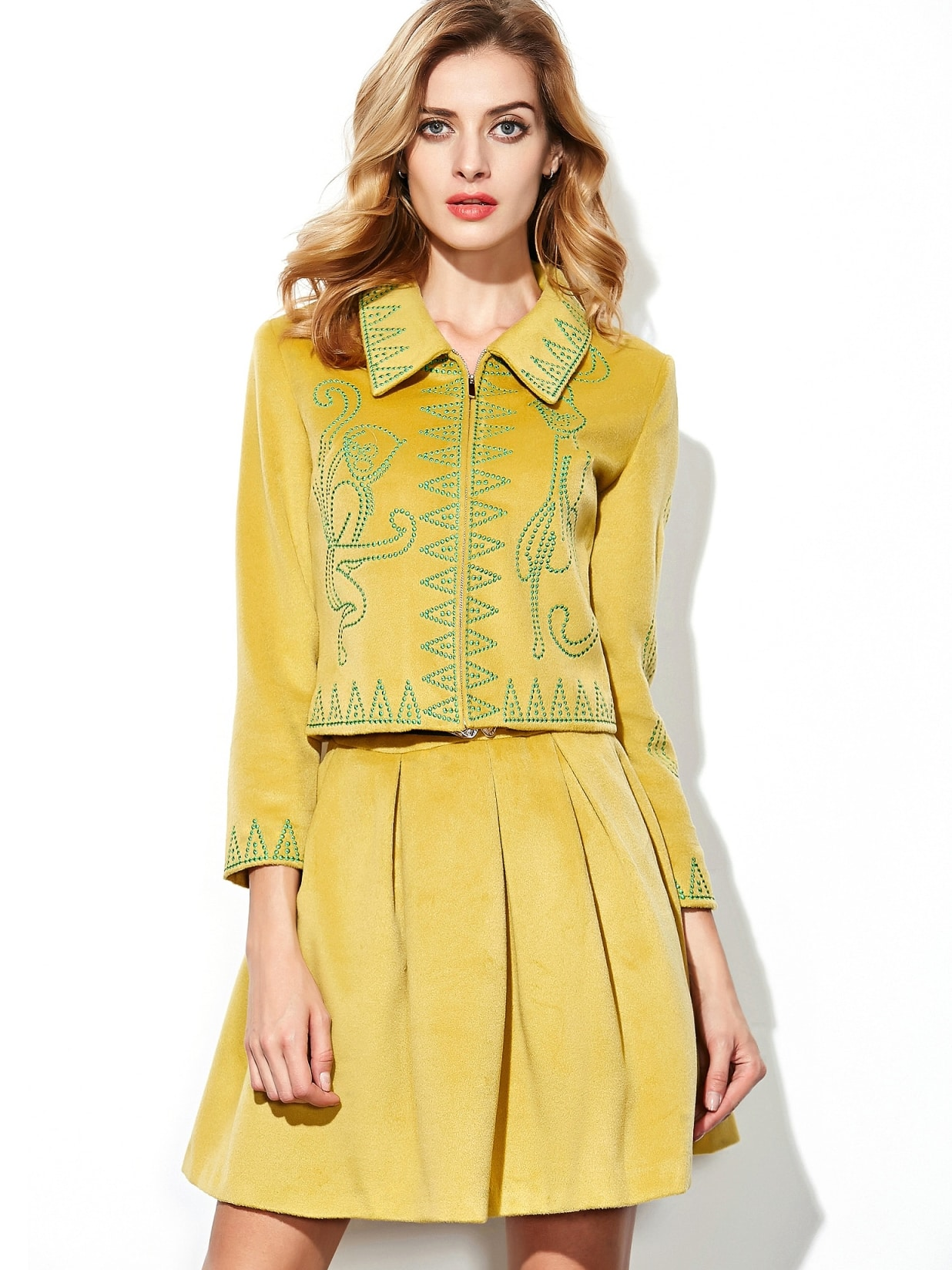 Yellow Lapel Length Sleeve Embroidered Drawstring Two Pieces Dress