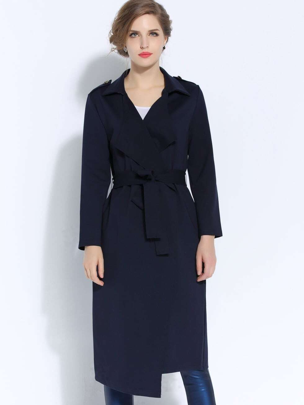 Navy V Neck Long Sleeve Tie-Waist Coat