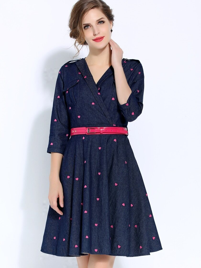 Blue V Neck Length Sleeve Hearts Embroidered Drawstring Dress