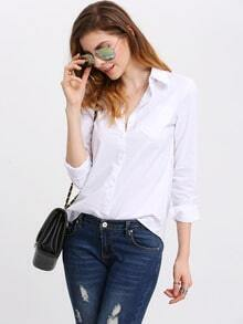 Lapel Long Sleeve Pocket Blouse