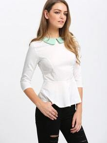 Doll Collar Peplum Hem Blouse