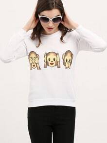 Animal Print White Sweatshirt