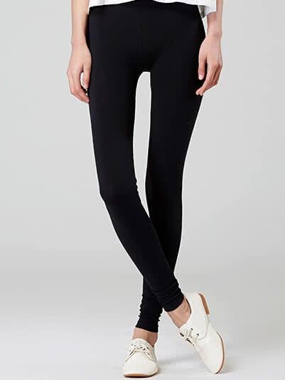 Elastic Waist Slim Black Leggings